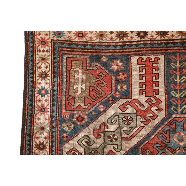 Antique Caucasian Carpet in Pure Handspun Wool and Vegetable Dyes, circa 1880 For Sale 3
