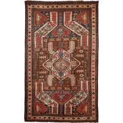 Antique Caucasian Carpet in Pure Handspun Wool and Vegetable Dyes, circa 1880
