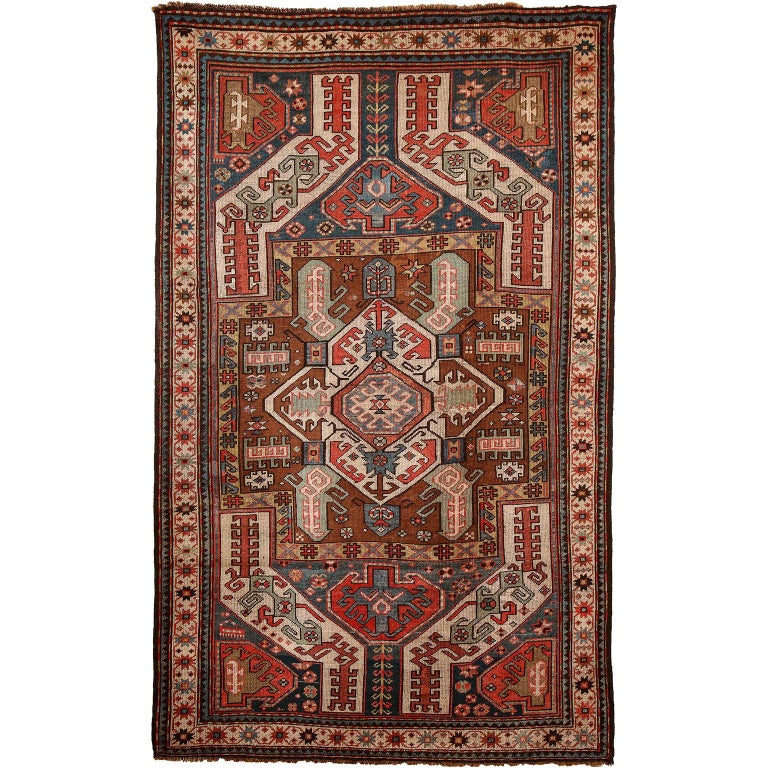 Antique Caucasian Carpet in Pure Handspun Wool and Vegetable Dyes, circa 1880 For Sale