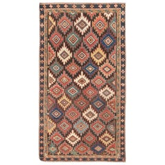 Antique Caucasian Colorful Geometric Handwoven Wool Rug