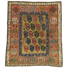 Antique Caucasian Dagestan Square Rug with Modern Rustic Arts & Crafts Style
