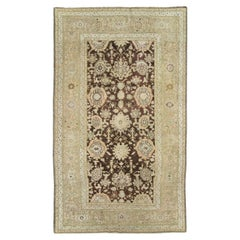 Antique Caucasian Karabagh Accent Rug in Neutral Cream and Brown Tones