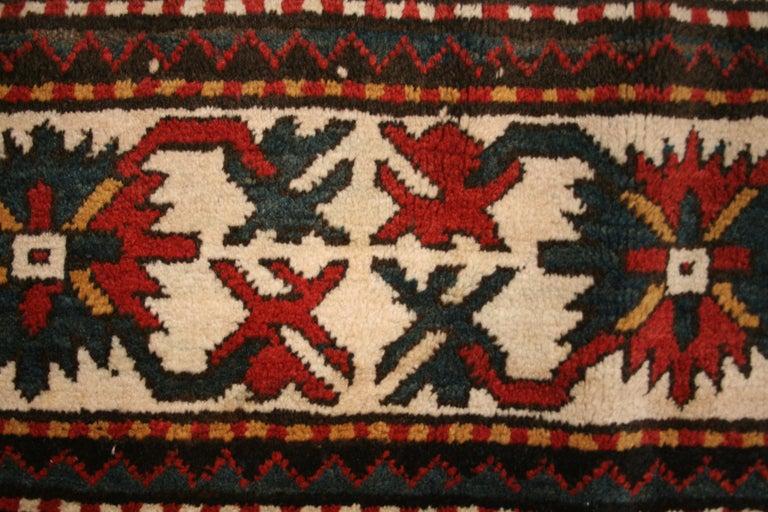 Hand-Knotted Antique Caucasian Karabagh Kasim Ushag Large Geometric Rug For Sale