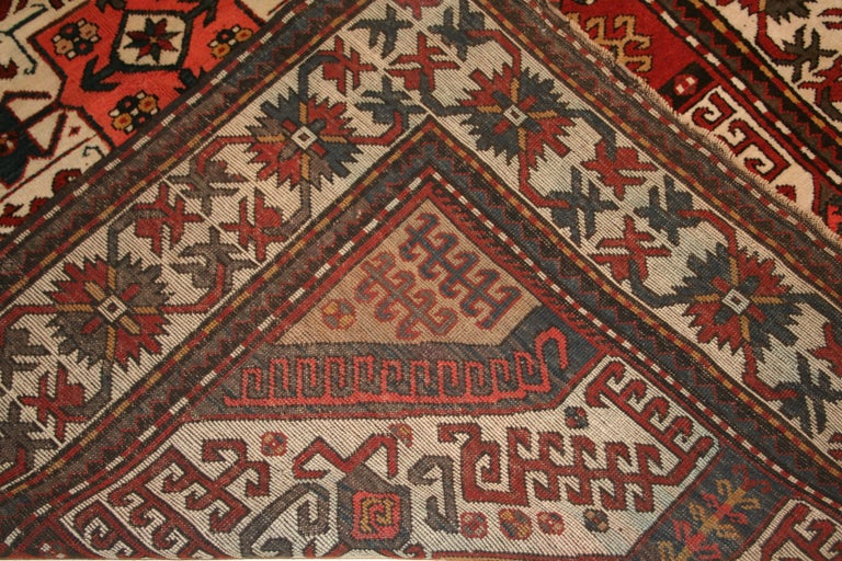 Antique Caucasian Karabagh Kasim Ushag Large Geometric Rug In Excellent Condition For Sale In Milan, IT