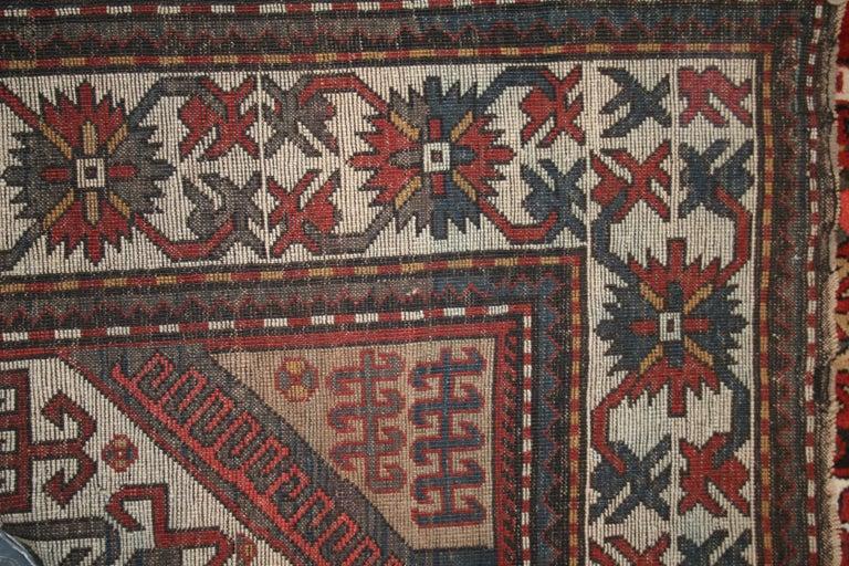 20th Century Antique Caucasian Karabagh Kasim Ushag Large Geometric Rug For Sale