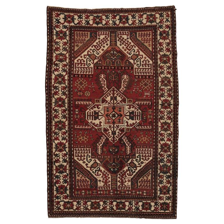 Antique Caucasian Karabagh Kasim Ushag Large Geometric Rug For Sale