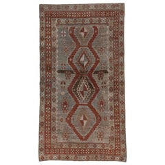 Antique Caucasian Karabagh Rug, Gray and Blue Field, Tribal, Red Borders
