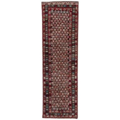 Antique Caucasian Karabagh Runner, All-Over Black & Red Field, Colorful Borders
