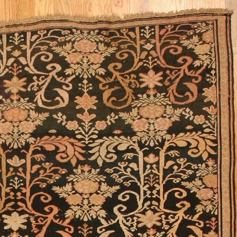 Hand-Woven Antique Caucasian Karabagh Soumak Rug. Size: 7 ft 2 in x 9 ft 2 in For Sale