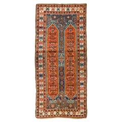 Antique Caucasian Karabakh Runner Rug, Tribal Carpet, Full Pile