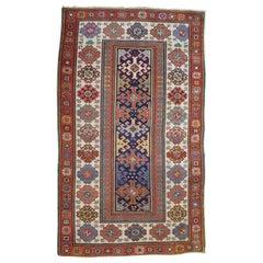 Antique Caucasian Kazak, All-Over Field, Blue Field, Wool, Scatter Size, 1900