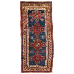 Antique Navy Blue Red Gold Tribal Geometric Caucasian Kazak Rug circa 1930s