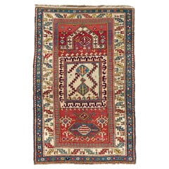 Antique Caucasian Kazak Prayer Rug, One of a Kind, circa 1875