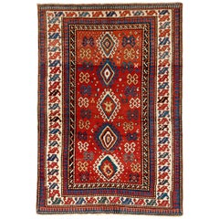 5.6x8 Ft Antique Caucasian Kazak Rug, Ca 1850, 100% Wool and All Natural Dyes