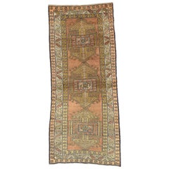Antique Caucasian Kazak Rug with Tribal Style, Wide Hallway Runner