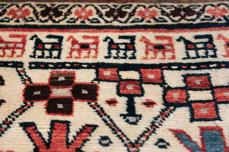 Hand-Knotted Antique Caucasian Kazak Runner For Sale