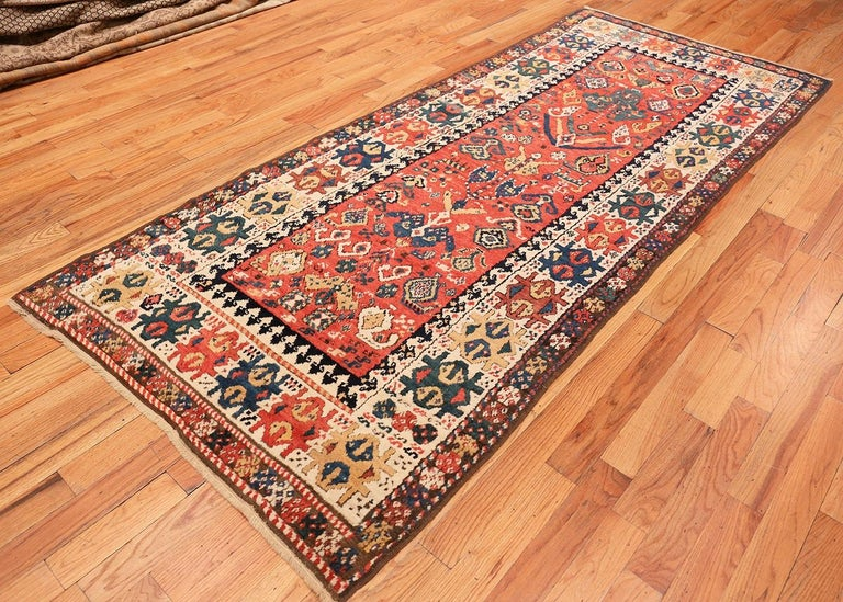 Antique Caucasian Kazak Runner. Size: 4 ft 1 in x 10 ft (1.24 m x 3.05 m) In Excellent Condition For Sale In New York, NY