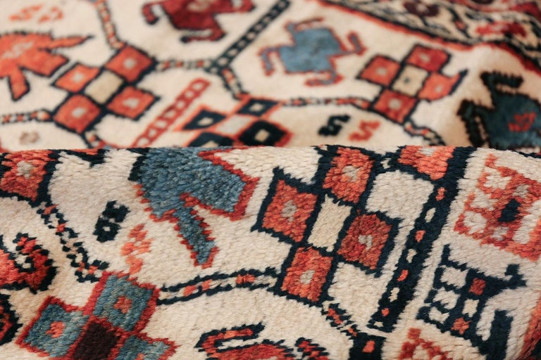 Antique Caucasian Kazak Runner In Good Condition For Sale In New York, NY