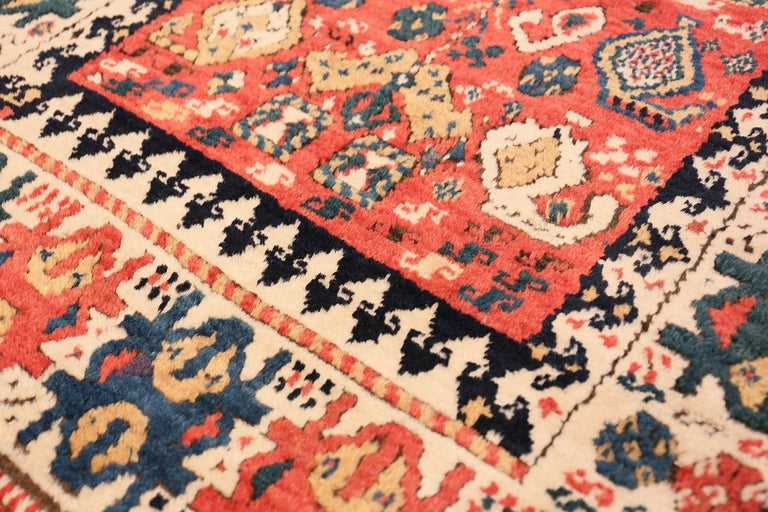 Wool Antique Caucasian Kazak Runner. Size: 4 ft 1 in x 10 ft (1.24 m x 3.05 m) For Sale