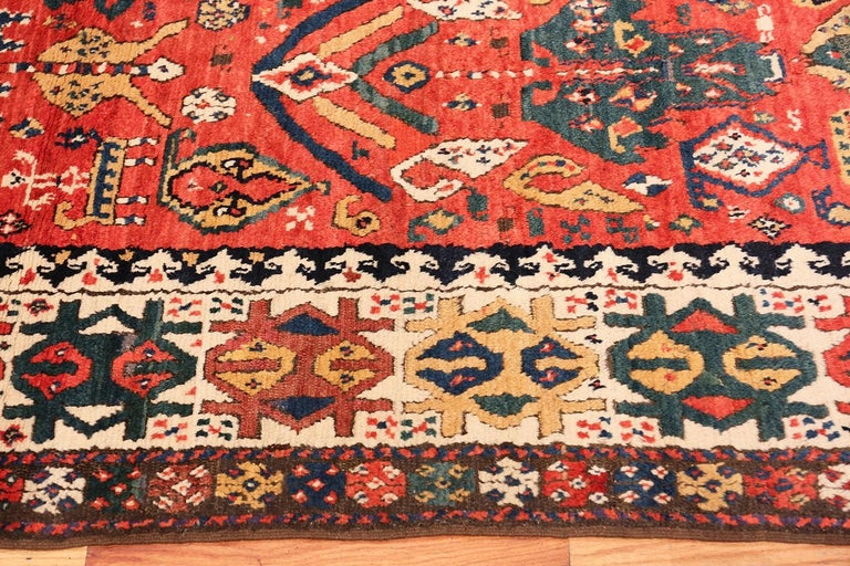 Antique Caucasian Kazak Runner. Size: 4 ft 1 in x 10 ft (1.24 m x 3.05 m) For Sale 1