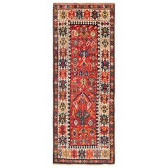 Antique Caucasian Kazak Runner. Size: 4 ft 1 in x 10 ft (1.24 m x 3.05 m)