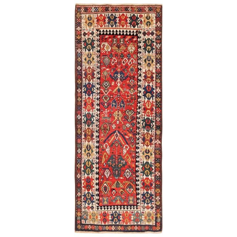 Antique Caucasian Kazak Runner. Size: 4 ft 1 in x 10 ft (1.24 m x 3.05 m) For Sale