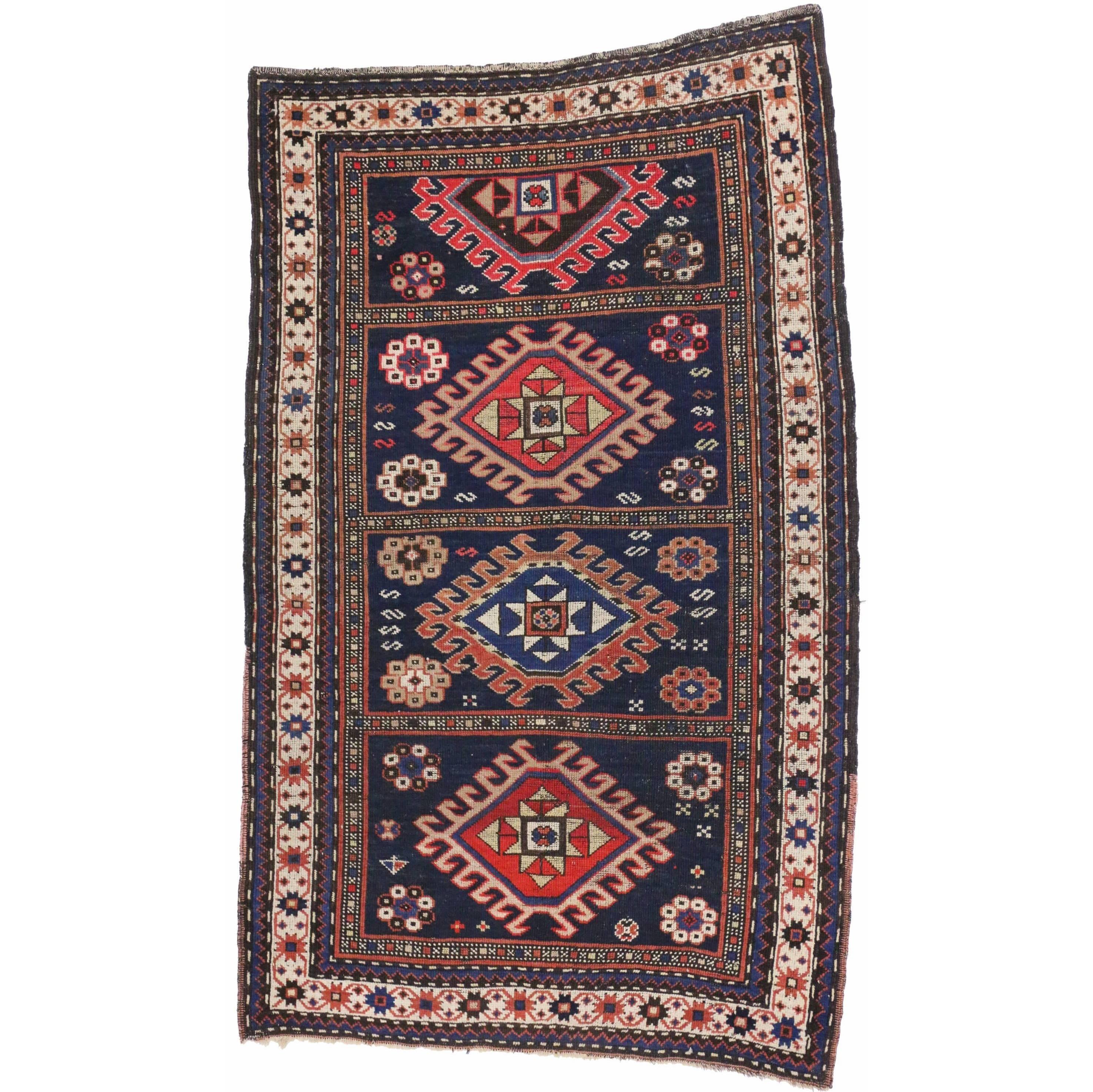 Antique Caucasian Kazak Rug with Compartment Design