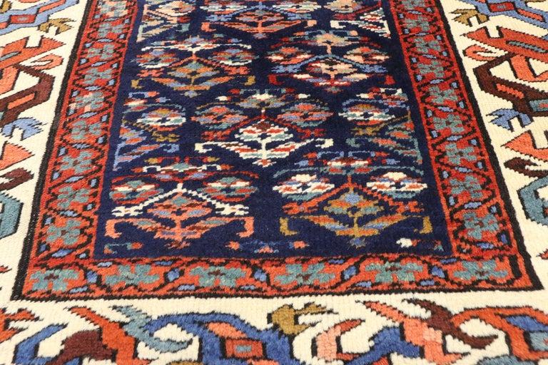 Hand-Knotted Antique Caucasian Kazak Tribal Runner, Hallway Runner For Sale
