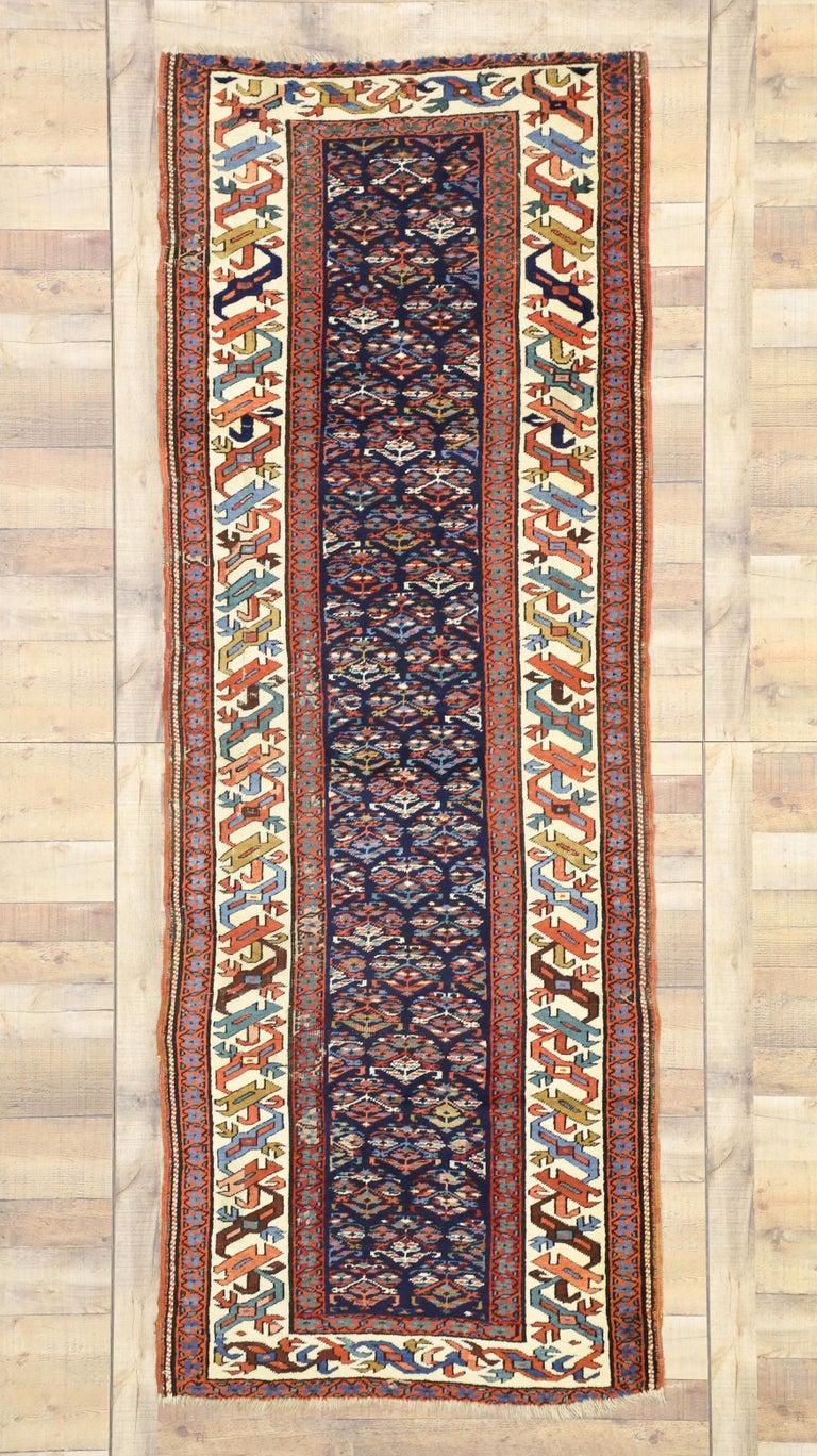 Wool Antique Caucasian Kazak Tribal Runner, Hallway Runner For Sale