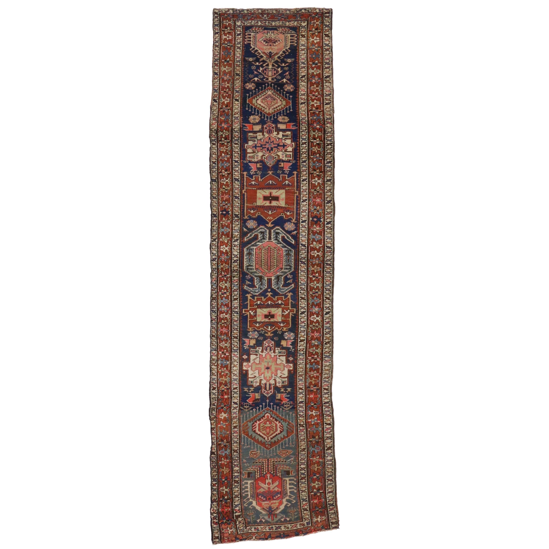 Antique Caucasian Kazak Tribal Runner with Lenkoran Amulet, Hallway Runner