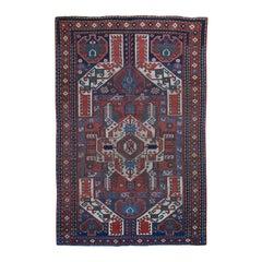 Antique Caucasian Kazak Worn Pile Hand Knotted Oriental Rug