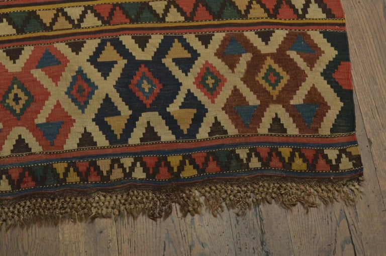 Hand-Woven Antique Caucasian Kilim For Sale