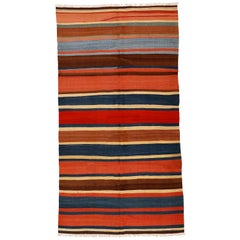 Antique Caucasian Kilim Rug with Polychrome Stripes