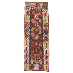 Antique Caucasian Kilim Runner with Tribal Style