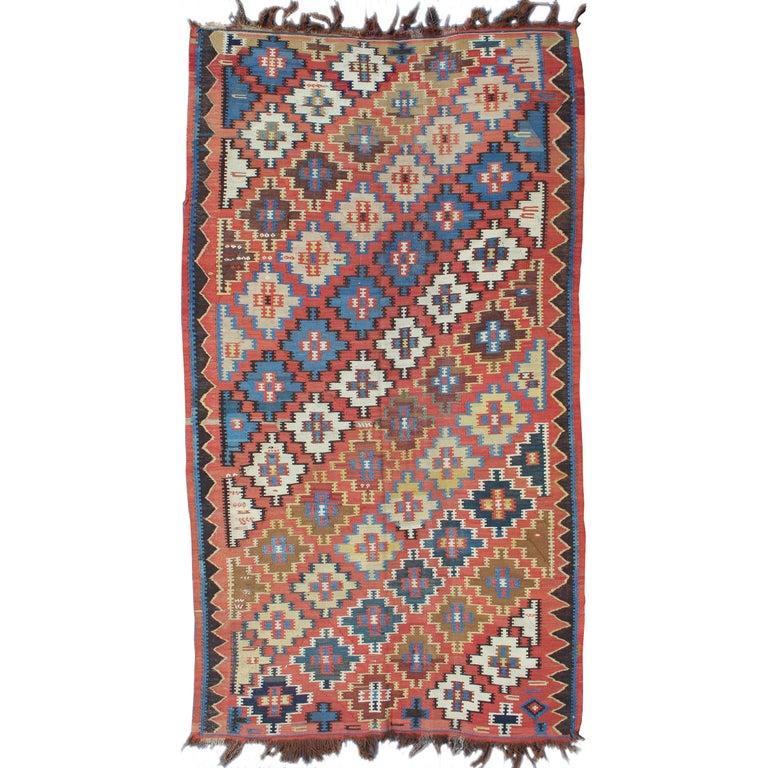 Caucasian Kilim Rug: Antique Caucasian Kuba Kilim With All-Over Diamond Design
