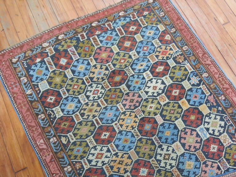 Hand-Woven Antique Caucasian Kuba Rug For Sale