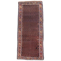 Antique Caucasian Lori Kurdish Runner with Tribal Style, Wide Hallway Runner