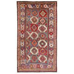 Antique Caucasian Moghan Kazak Rug, Memling Gul Design, circa 1870