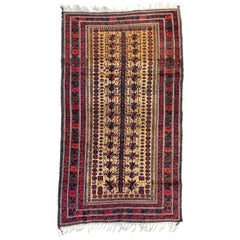 Vintage Caucasian Red Gold Brown Geometric Tribal Baluch Rug circa 1930s