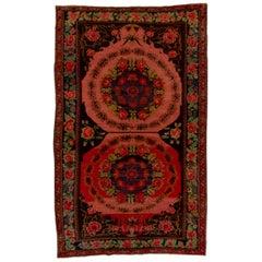 Antique Caucasian Red Karabagh Rug, Floral Palette