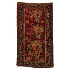 Antique Caucasian Rose Karabagh Karabakh Rug with English Chintz Style