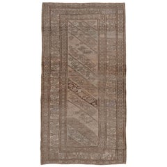Antique Caucasian Rug, Light Brown Palette, Light Purple Accents