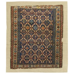 Antique Caucasian Rug Stitched on Linen
