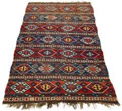 Antique Caucasian Shirvan Kilim Late 19th Century Tribal Geometric Pattern