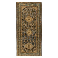 Antique Caucasian Shirvan Midnight Blue and Beige Hand Knotted Wool Rug