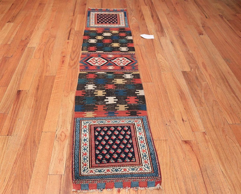 Antique Caucasian Shirvan rug, origin: Caucasus, circa late 19th century. This enrapturing antique Shirvan rug showcases a beautifully varied and complex composition that incorporates an iconic selection of classical Caucasian rug details. The epic