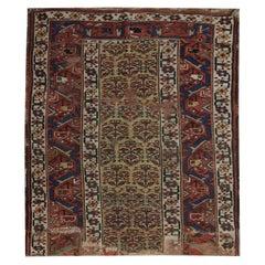 Antique Caucasian Shirvan Rug Handwoven Fragment Oriental Area Rug