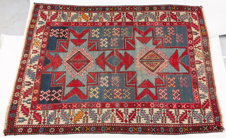 Hand-Knotted Antique Caucasian Shirvan Rug with Lesghi Star For Sale