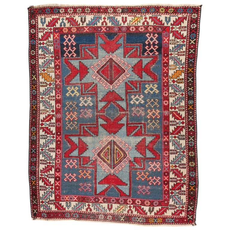 Antique Caucasian Shirvan Rug with Lesghi Star For Sale