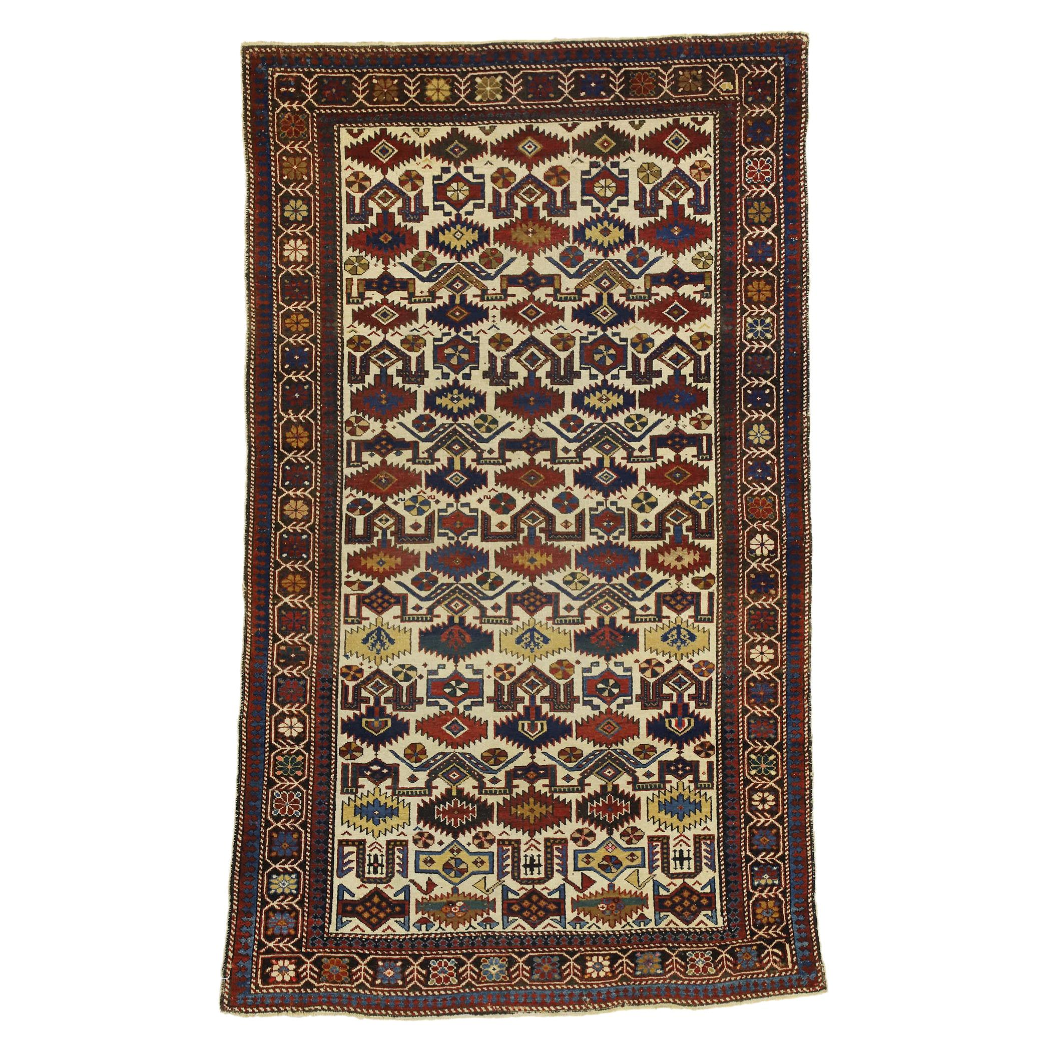Antique Caucasian Shirvan Rug with Modern Tribal Style